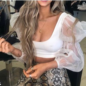 White square neck mesh puff sleeve crop top